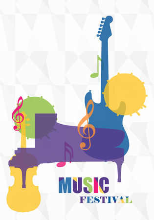 Raster illustration colorful music background, poster for music festival. Music concept