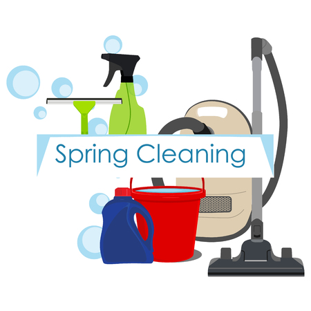 Raster illustation spring cleaning with cleaning equipment. Housework appliance - bucket, vacuum cleaneer, bottle, spray and window squeegee. Spring cleaning background, card Stock Photo