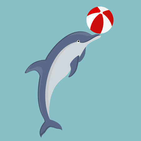 game of pool: Raster illustration jumping dolphin playing with ball isolated on blue background. Dolphin icon. Beach summer ball. Sea creature
