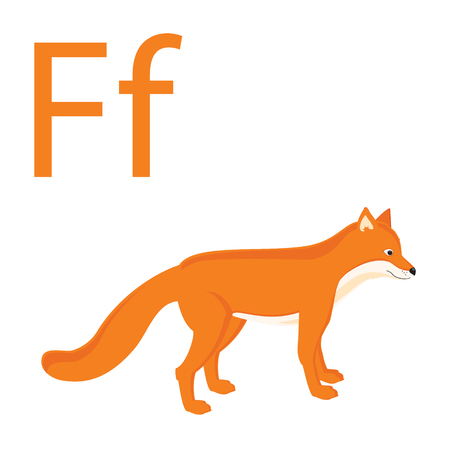 Cute animal alphabet for ABC book. Raster illustration of cartoon animals. Fox for F letter