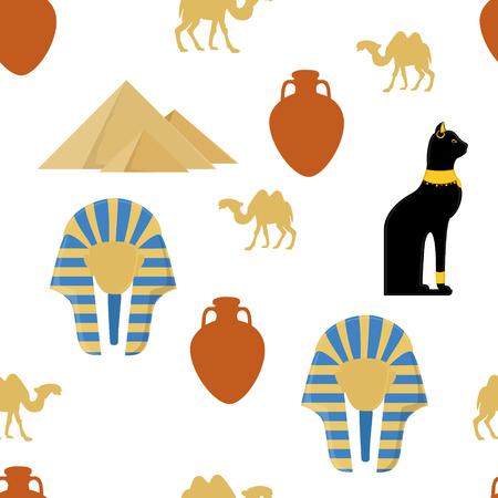 Raster illustration egypt  pattern with symbols of Egypt. Egypt cat, giza pyramids, amphora, camel and pharaoh mask Stock Photo
