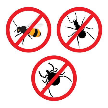 Raster illustration insect prohibition sign. Mite, bee and ant Stock Photo