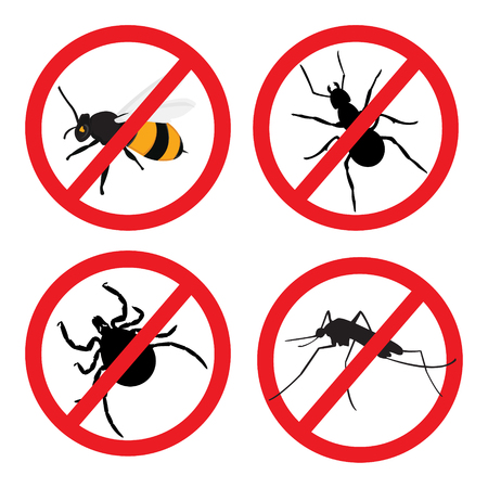 pest control: Raster illustration insect prohibition sign. Mite, mosquito, bee and ant Stock Photo