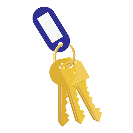raster illustration blank blue tag and golden keys. Bunch of keys with keychain isolated on white background Stock Photo