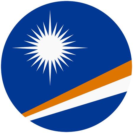 raster illustration flag of Marshall Islands icon. Round national flag of Marshall Islands.