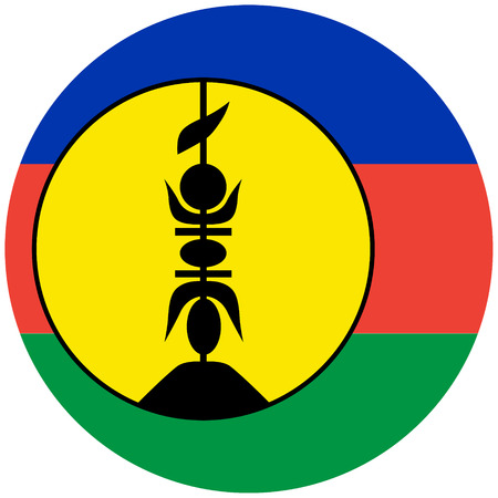 raster illustration flag of New Caledonia icon. Round national flag of New Caledonia.