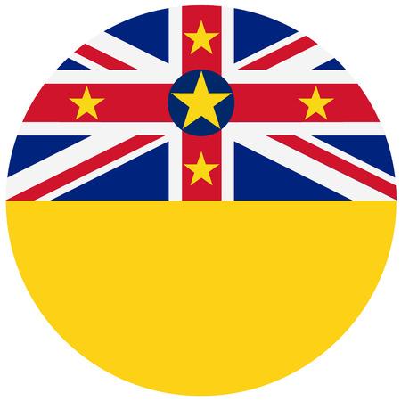 niue: raster illustration flag of Niue icon. Round national flag of Niue. Stock Photo