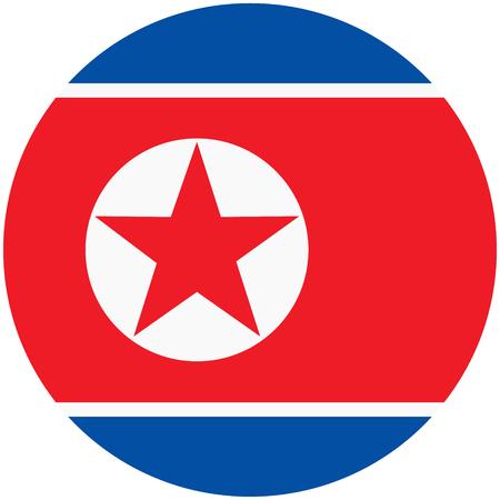 북한 아이콘의 래스터 그림 플래그입니다. 북한의 둥근 국기.