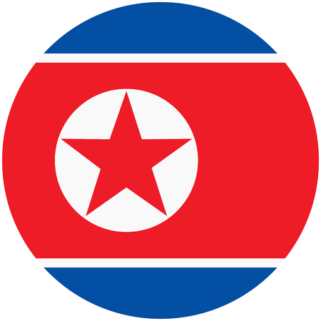 raster illustration flag of North Korea icon. Round national flag of North Korea.