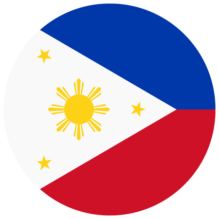 raster illustration flag of Philippines icon. Round national flag of Philippines.