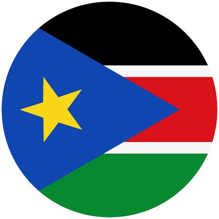 raster illustration flag of South Sudan icon. Round national flag of South Sudan.