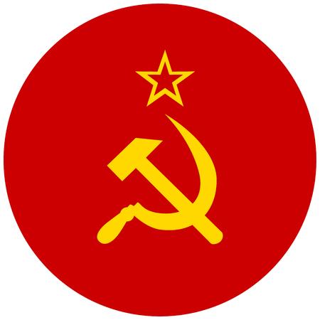 raster illustration flag of Soviet Union icon. Round national flag of Soviet Union. Stock Photo