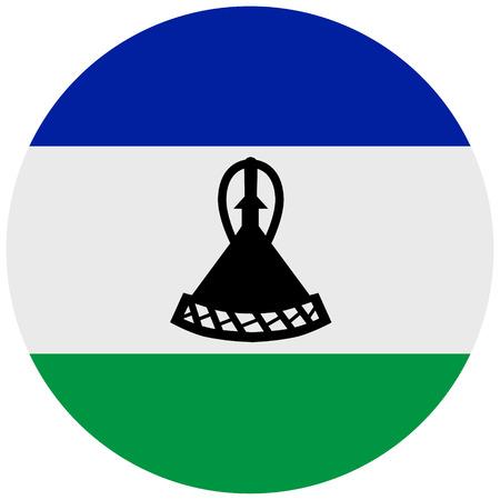 raster illustration flag of Lesotho icon. Round national flag of Lesotho.