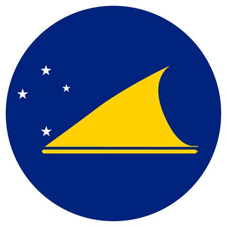 tokelau: raster illustration flag of Tokelau icon. Round national flag of Tokelau. Tokelau flag button