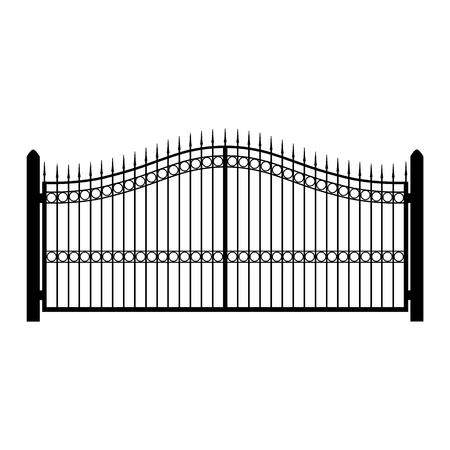 ラスター図の錬鉄製のフェンス。古い金属フェンスやゲート。ゲートのシルエット。モダンな鍛造ゲート