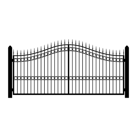 raster illustration wrought-iron fence. Old metal fence or gate. Gate silhouette. Modern forged gates Фото со стока - 77134686