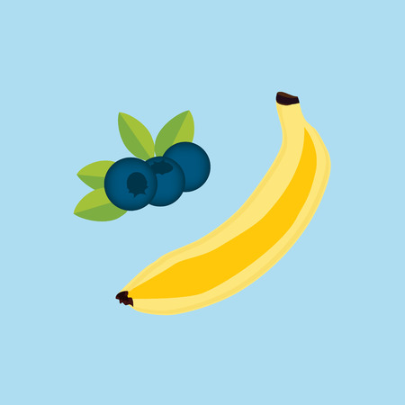 Raster illustration banana and blueberry, bilberry isolated on blue background. Banana, blueberry fruit icon flat design Stock Photo