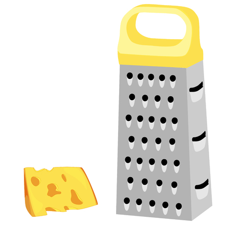 Raster illustration cheese grater with yellow handle and piece of cheese