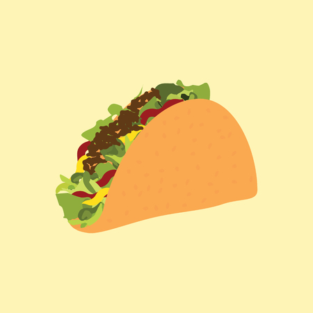chili sauce: Raster illustration traditional mexican food taco. Taco fast food icon.
