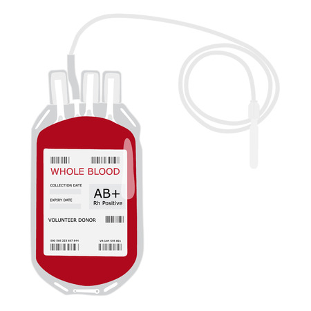 Raster illustration blood bag with label AB positive blood isolated on white. Donate blood concept. Realistic blood bag