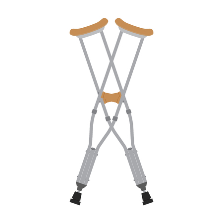 Crutches icon. Raster illustration of pair crossed wooden crutches or medical walking sticks for rehabilitation of broken leg.