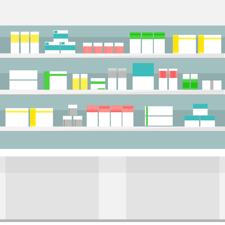 droppers: Raster illustration pharmacy shelves with medicine pills bottles liquids and capsules. Various Pills and Drugs For Sale Display on Pharmacy Shelves.