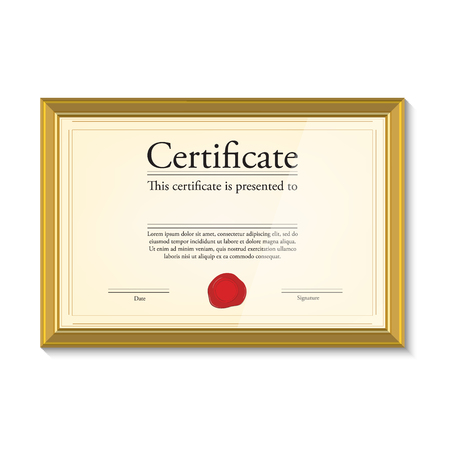 stock certificate: Raster illustration of certificate template with red wax stamp in golden picture frame. Certificate border. Modern certificate Stock Photo