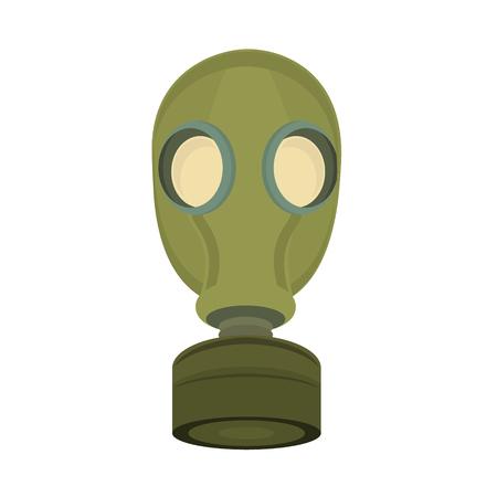 Raster illustration military green gas mask isolated on white background. Chemical protective mask icon. Gasmask respirator.