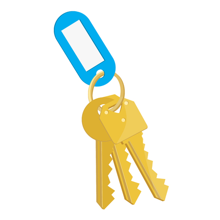 Raster illustration blank blue tag and golden keys. Bunch of keys with keychain isolated on white background