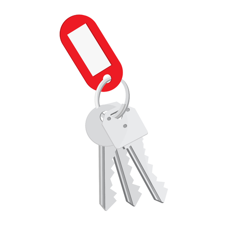 Raster illustration blank red tag and keys. Bunch of keys with keychain isolated on white background Stock Photo