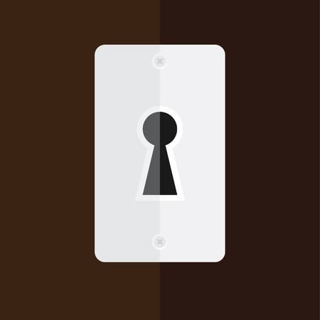 key hole: Raster illustration silver keyhole in wooden door. Key hole icon