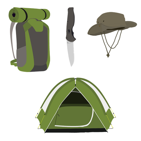 Camping equipment green camping tent, travel backpack, knife and exploration hat raster illustration. Camping gear icon set Stock Photo