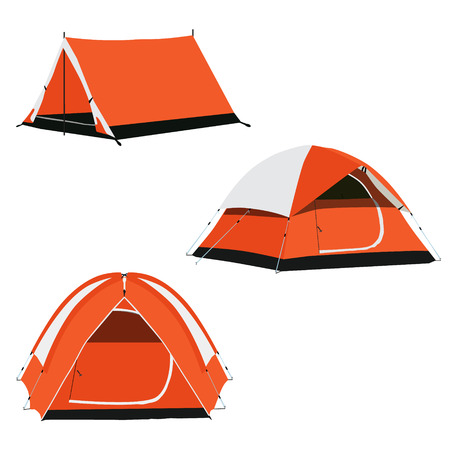raster set of three orange camping tents raster illustration. Camping equipment, camping gear, camping icon