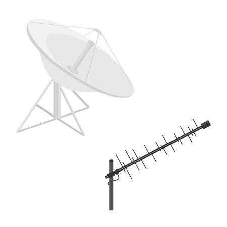 transmit: Raster illustration satellite dish antenna and television antenna. Radar flat icon. Antenna icon. Television antenna. TV antenna. Antenna icon set.
