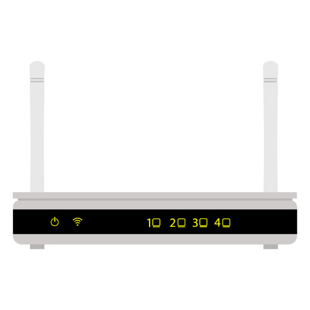 Raster illustration white realistic wireless router with the antenna front view. Wifi router detailed