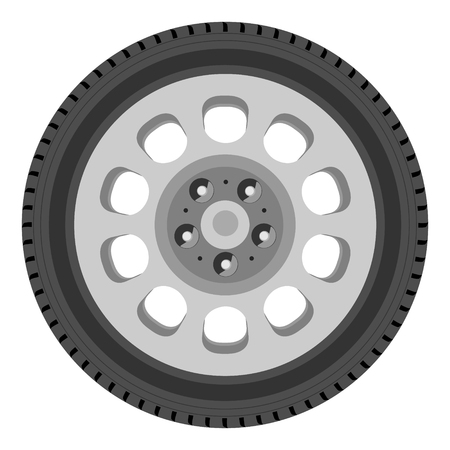 ring road: Raster illustration car wheel raster isolated on white background. Car tire. Transport wheel icon Stock Photo