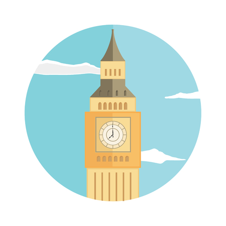 Raster illustration Big Ben tower blue sky and clouds flat round icon. London, UK Stock Photo