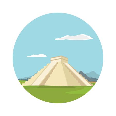 Raster illustration Chichen itza, maya monument round flat icon. Mexico Stock Photo