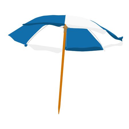 Raster illustration white and blue summer beach umbrella isolated on white background. Colorful beach umbrella
