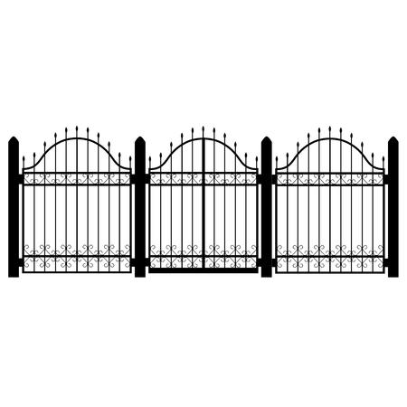 ラスター図錬鉄モジュラー手すりとフェンス。渦巻きゲート ヴィンテージ。フェンスのシルエットは、装飾的な形状を分離しました。アーキテクチ