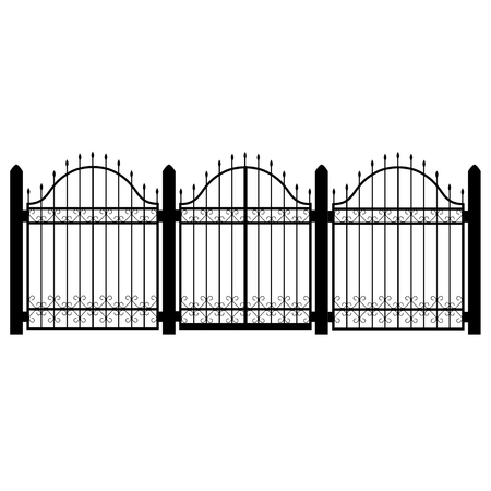 Raster illustration wrought iron modular railing and fence. Vintage gate with swirls. Fence silhouette isolated decorative shape. Architecture gate and fence objects Фото со стока