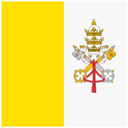 Raster illustration flag of Vatican icon. Rectangle national flag of Vatican. Vatican flag button Stock Photo