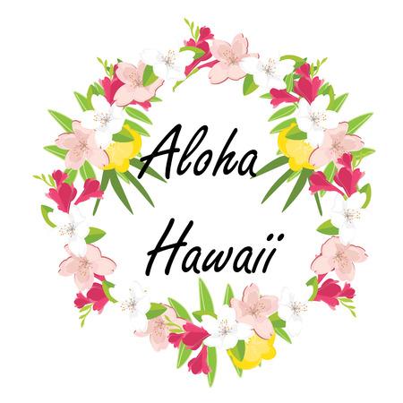 Raster Illustration Aloha Hawaii Round Frame. Tropical, Exotic ...