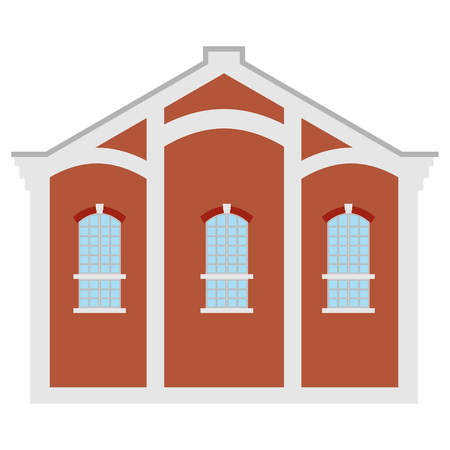 Vector illustration old town factory building. Architecture. Manufactory icon. Illustration