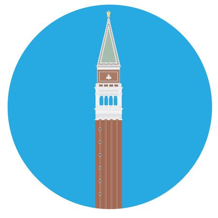 Illustrazione vettoriale Campanile di San Marco. Venezia, Italia. Icona rotonda quadrata di San Marco. Vettoriali