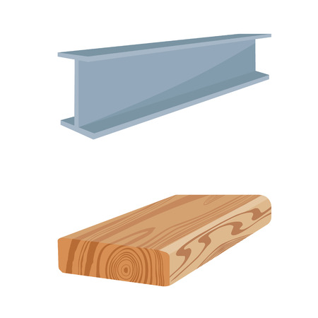 Vector illustration rasped wooden timber plank for building construction or floring. Construction steel beam for architectural works. Wood board Illustration