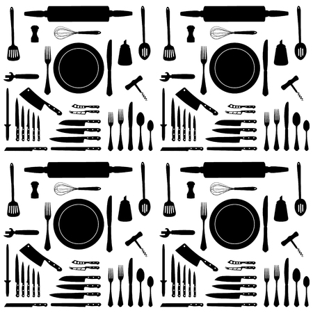 Vector illustration kitchen tool collection black silhouette. Kitchen utensil icon set. Cutlery icons