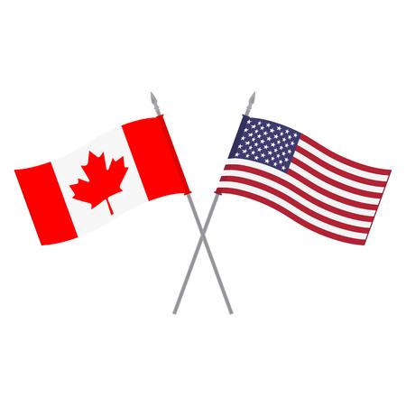 米国とカナダの国旗のベクター イラストです。旗竿に 2 つ小さなアメリカとカナダの三角形フラグ