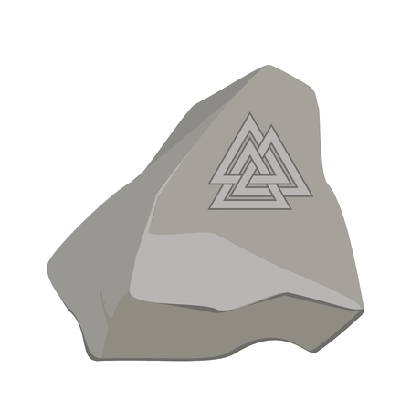 Valknut symbol of the world end of the tree Yggdrasil on stone, rock. Sign of the god Odin. It refers to the Norse culture. Triangle logo. Viking Age symbol.
