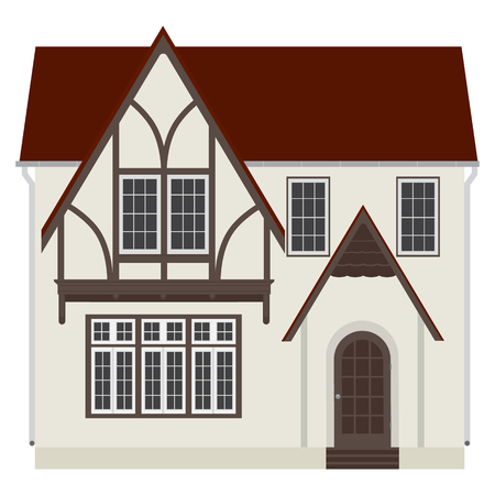 two storey: Raster illustration medieval german house. Fachwerk house traditional cottage. Two storey house